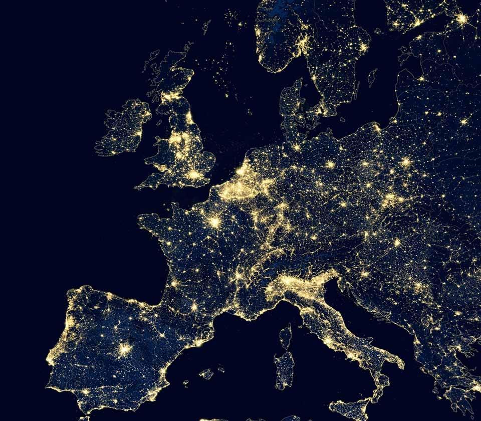 satellite view of Europe's power