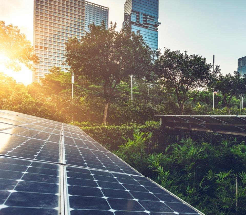 solar panels in an urban city